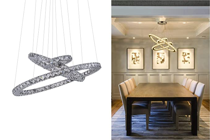 KAI Crystal Chandelier Island Pendant Light Contemporary Not Dimmable LED Lamp with Adjustable Height 3 Rings