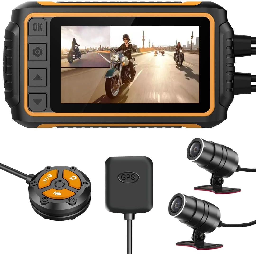 YDI Dash CAM Impermeable Cámara de Motocicleta, 3.0'' FHD 1080P Doble Lente Impermeable Frontal y Trasera Gran Angular 150° con Wi-Fi, GPS, Control Remoto, WDR y Sensor G, Soporte Máximo a 256GB