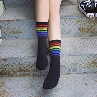 hhsmdaChaussettes pour Femmes Chaussettes Chaudes en Coton Rainbow Winter Chaussettes Blanches(5 Paires)