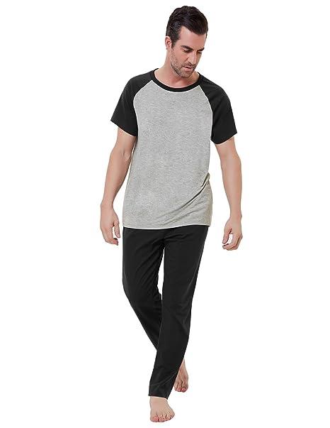 dcde3c7062d Amazon.com  Zexxxy Men Pajama Sets Raglan Sleeve T-Shirt and Long Pants  Sleep Set ZE0165  Clothing