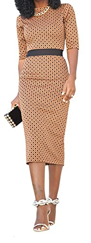 WorkTd Women's Geometric Print Wear to Work Cocktail Midi Bodycon Dress