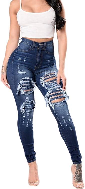 Qitun Skinny Desgarro Rasgados Rodilla Vaqueros Leggings Jeans Con Agujeros Para Mujer Rotos Pantalones Amazon Es Ropa Y Accesorios