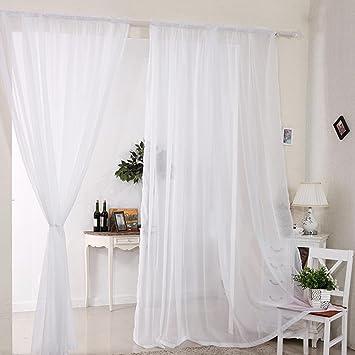 2 Stück Gardine Vorhang Transparent Aus Voile Dekoschal 140x230cm