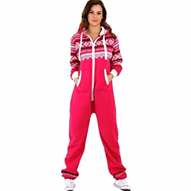 1946aa4ed10 Womens Aztec Onezie Jumpsuits Ladies Hooded Zip Up All in One Playsuit  Tracksuit Cerise