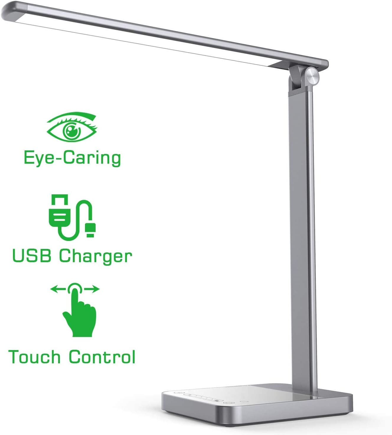 NAPATEK LED Desk Lamp, Eye Caring Table Light Aluminium 3 Color Modes 6 Brightness Levels Touch Control Timer Memory Function USB Port 64 LEDs Office Work Lamp Safe Thermal Design, Space Gray