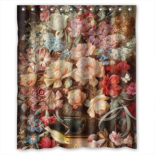 MaSoyy Polyester Famous Classic Art Painting Flowers Blossoms Bathroom Curtains Width X Height / 60 X 72 Inches / W H 150 By 180 Cm Best Choice For Teens Birthday Her Mother Valentine. W
