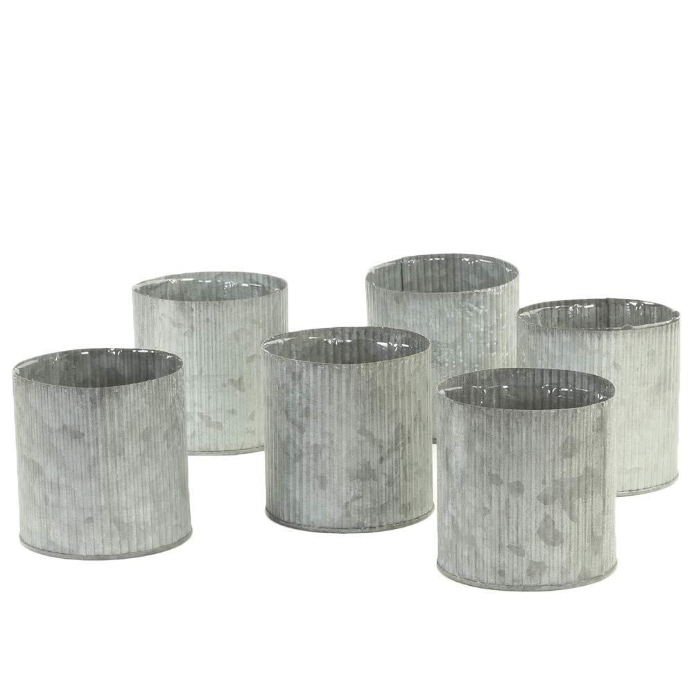 Farmhouse corrugated galvanized metal vase set