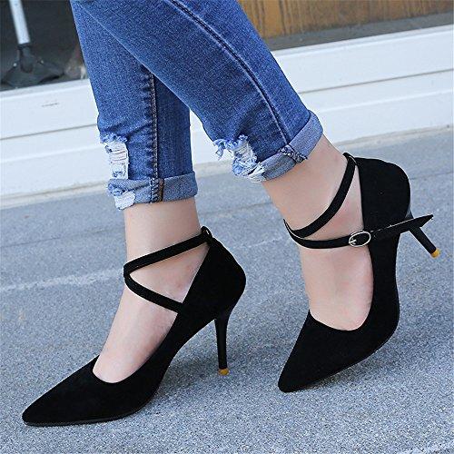 LIVY 2017 nueva gamuza señaló zapatos de tacón alto con tirantes finos zapatos ultra-alta con un solo zapatos de boda de la boca baja mujeres Negro