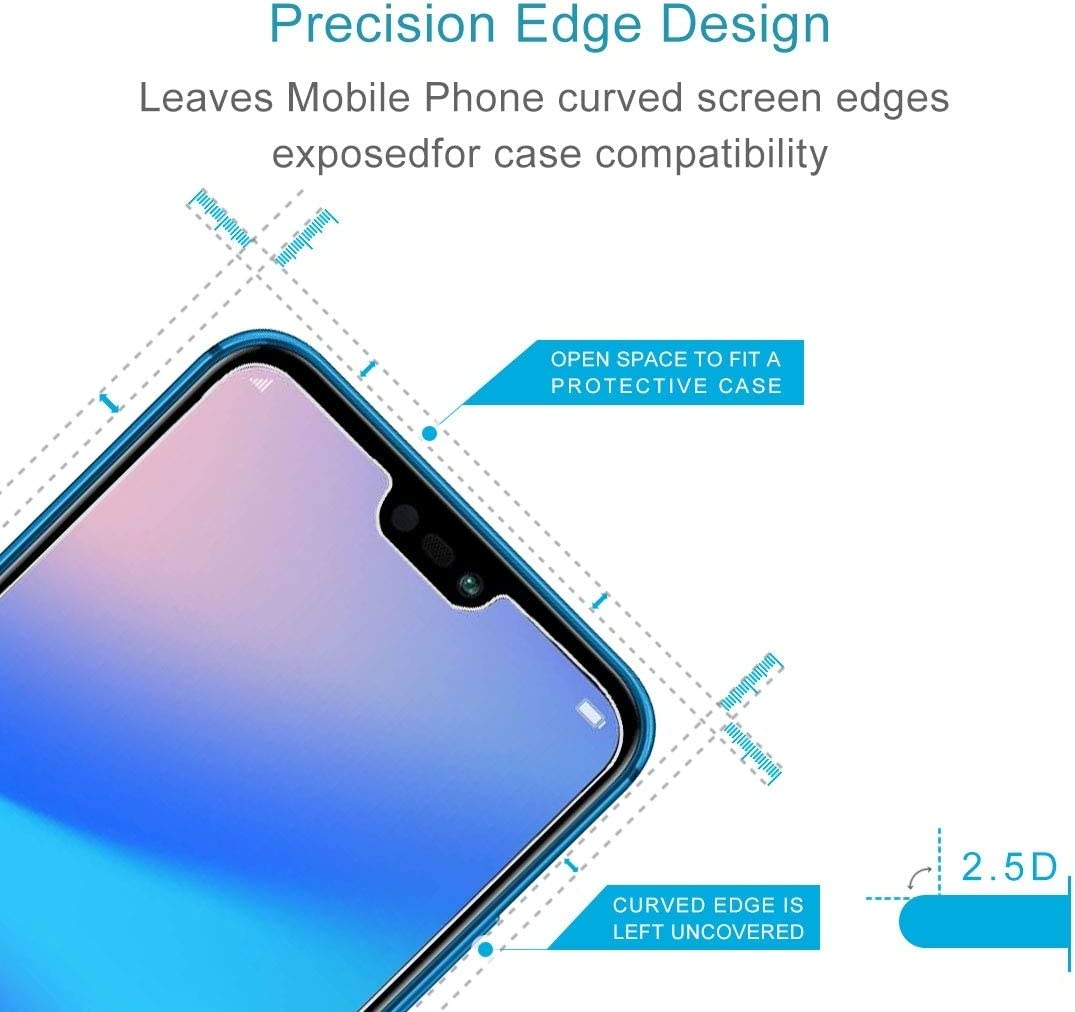 JUUANFDFINGD Cell Phones Screen Protectors 100 PCS for Huawei P20 Lite 0.26mm 9H Surface Hardness 2.5D Explosion-Proof Tempered Glass Screen Film