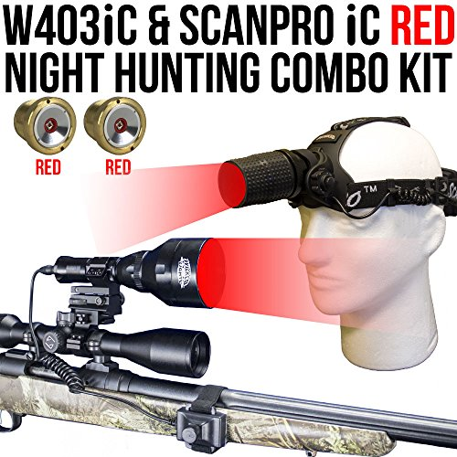 Wicked Lights W403iC & ScanPro iC RED Night Hunting Light and Headlamp Combo Pack for Predator, varmint & Hog Hunting Hunting Combo