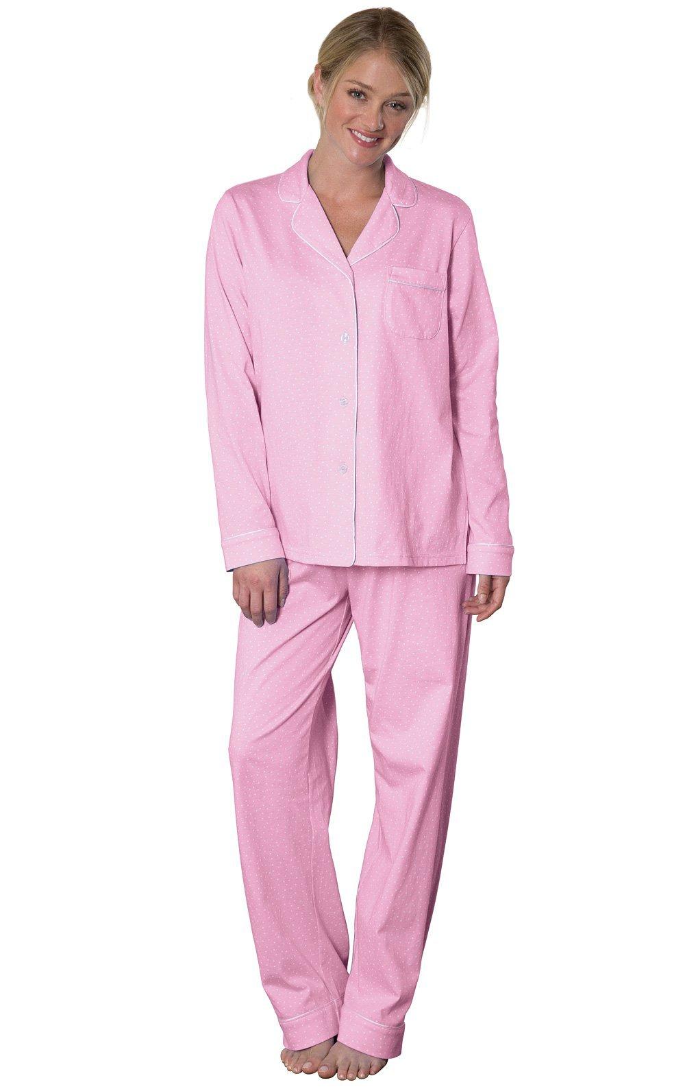PajamaGram Pajamas for Women Soft - Cotton Jersey Ladies Pajamas, Pink, M, 8-10 by PajamaGram