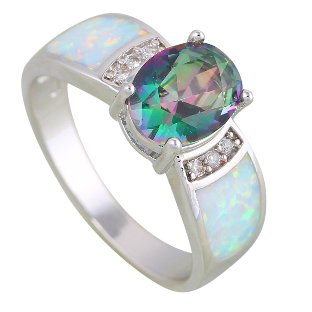 Wedding Rings Rainbow Mystic Topaz Opal 925 Stamp Silver Jewelry Rings for Womens Size 5 6 7 8 9 10 R609 garilina