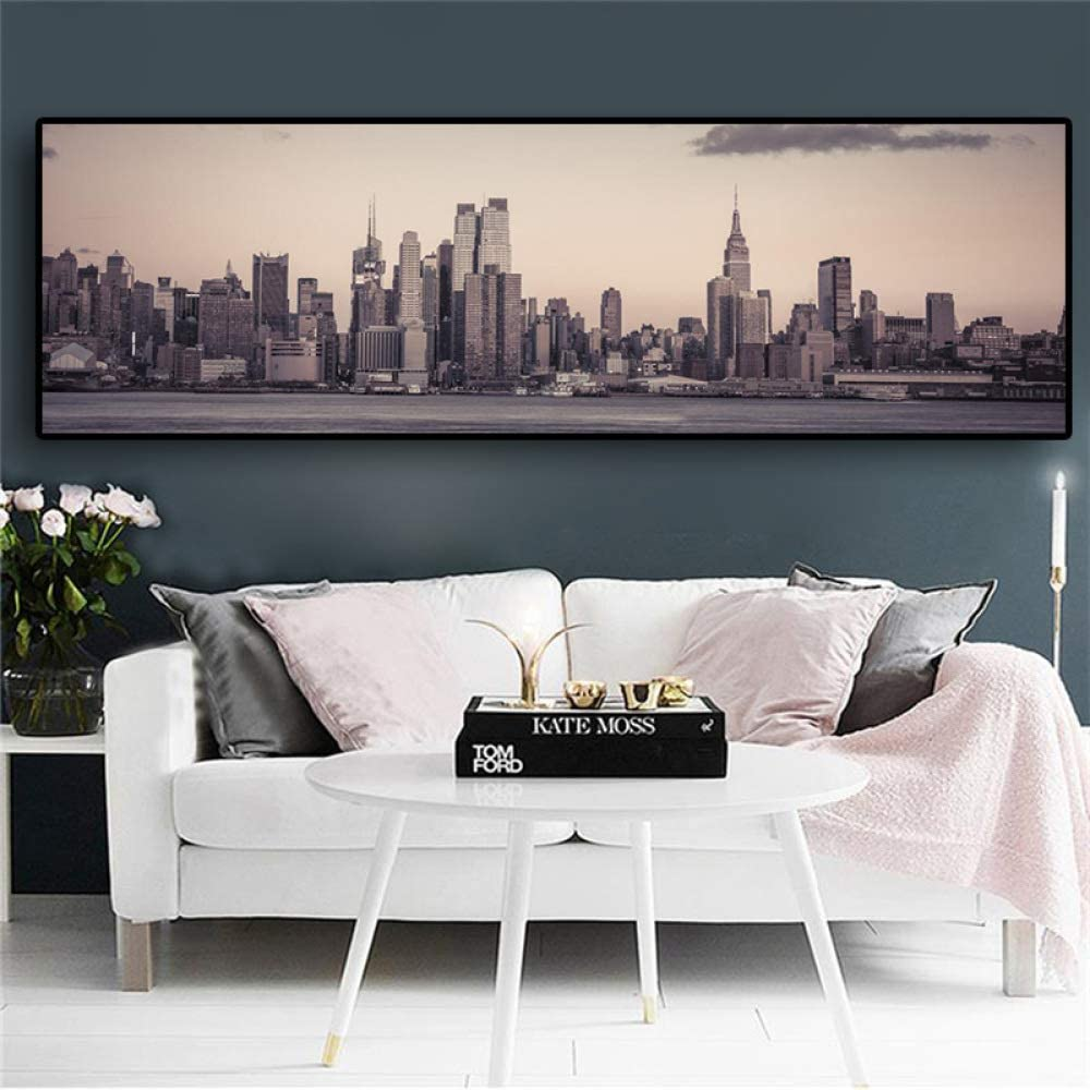 NIMCG Fashion Landscape Empire State Building Landscape Canvas Art Poster and Printmaking Wall Living Room Photo (sin Marco) A1 50x150CM: Amazon.es: Hogar