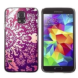 Sun Ray Fuego floral Awe Inspiring Grabado - Metal de aluminio y de plástico duro Caja del teléfono - Negro - Samsung Galaxy S5