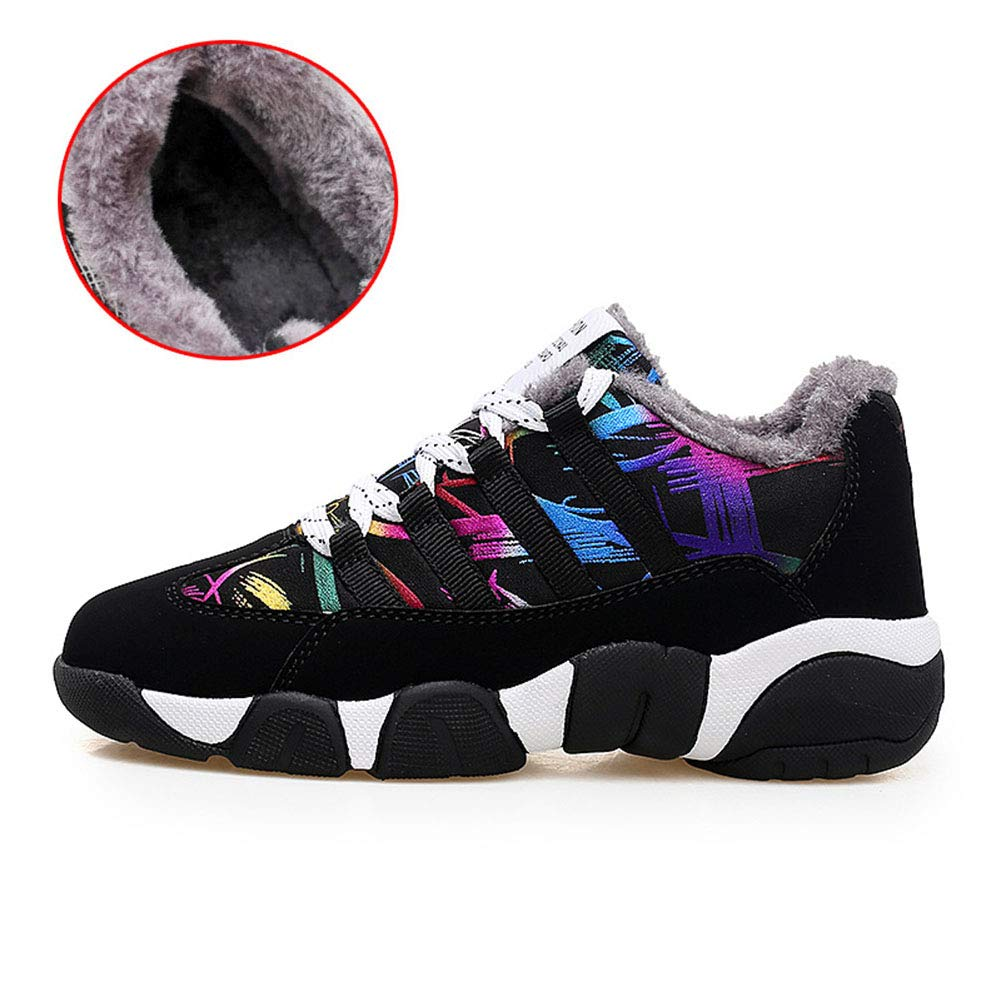 YAN Unisex Schuhe Sportschuhe Dicke Warme Freizeitschuhe Nubuk Winter Schnürschuhe Low-Top Turnschuhe Männer Frauen Paar Schuhe (Farbe   B, Größe   42)