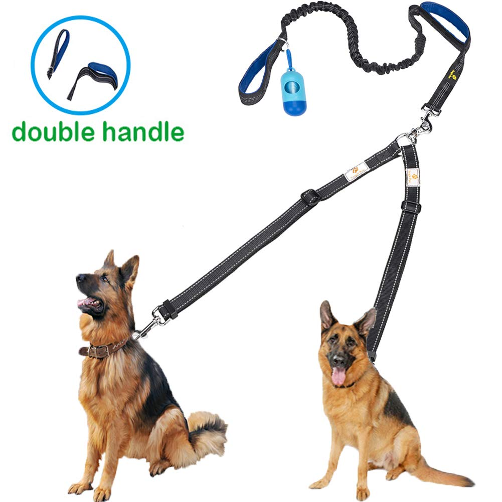 Double Dog Leash, Shock Absorbing Dual Handles No Tangle Two Dog Walking & Training Leash, Adjustable Reflective Coupler Lead for 2 Large Dogs, Bonus Pet Waste Bag Dispenser£¬30-150lbs