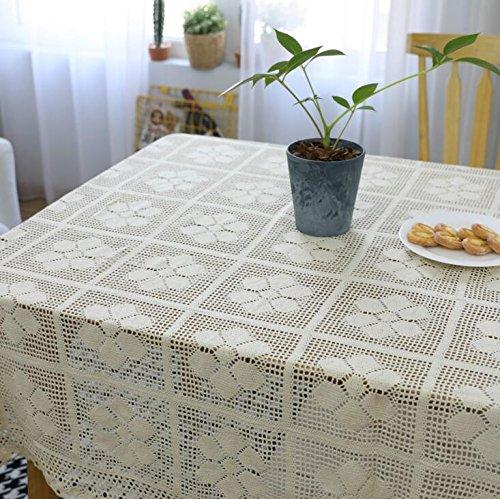 BlauLSS Romantische Stricken gehäkelte Tischdecke Rechteck Floral hohle Spitze Tischdecke aus Baumwolle Party Hochzeit Tisch Dekoration Tischdecke 140 x 140 cm B07B31L3BW Tischdecken Überlegen    Trendy