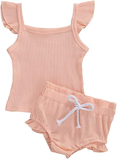 Infants Kids Girls Summer Ruffle Clothes Outfits T-shirt Tops Shorts Pants Sets