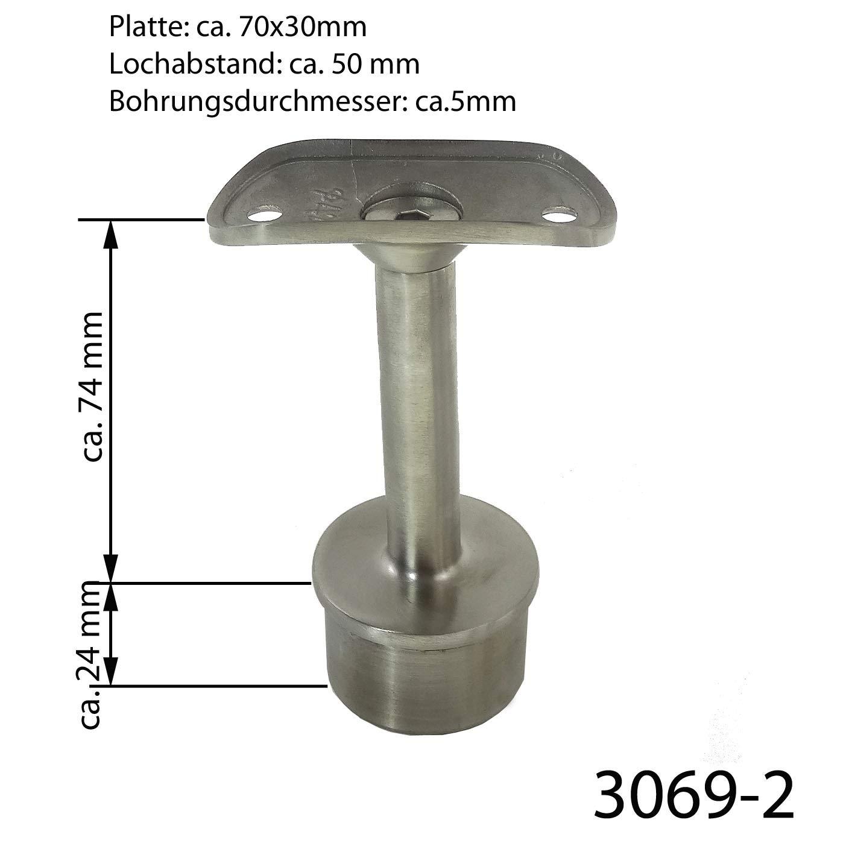 Modell:3069-2 gerade starr Edelstahl Handlauftr/äger Gel/änder Handlaufst/ütze Handlaufhalter Pfosten /Ø42,4