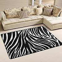 LORVIES Zebra Textures Area Rug Carpet Non-Slip Floor Mat Doormats for Living Room Bedroom 36 x 24 inches
