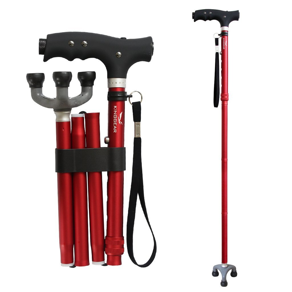 KingGear Travel Adjustable Folding Canes and Walking Sticks for Men and Women - Led Light and Easy Grip Handle for Arthritis Seniors Disabled and Elderly - Best Mobility Aids Cane (Red)