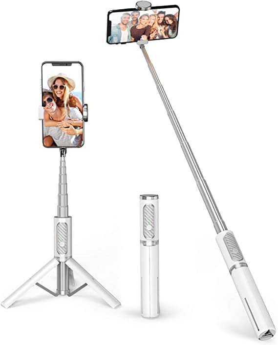 Extendable 4 in 1 Aluminium Selfie Stick with Wireless Remote for iPhone 11//X//XS//8//7 Plus Osmo Action ATUMTEK Bluetooth Selfie Stick Tripod with Screw Mount Selfie Light and More GoPro Samsung