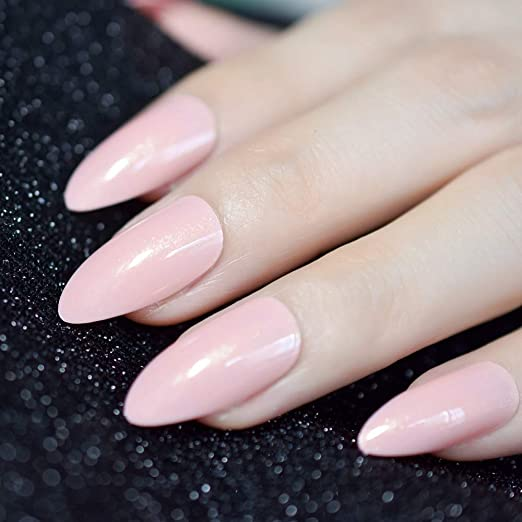 Amazon.com : Nude Pink Pointed Stiletto Sharp False Nail Art Tips Shimmer Gold Glitter Oval Almond Full Fake Nails Press On Finger Manicure Z952 : Beauty