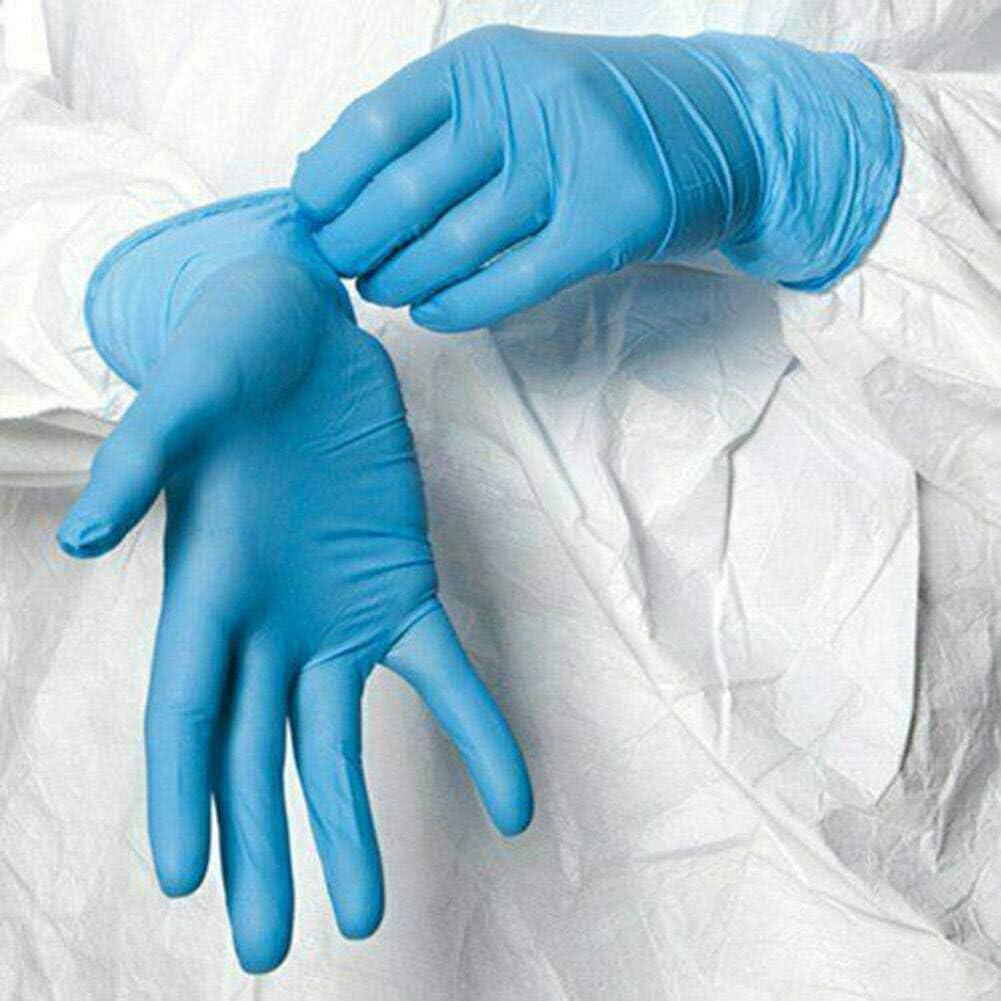 BIKITIQUE Guantes Desechables de 100 Piezas Guantes Desechables de Grado Alimenticio sin Polvo de Nitrilo Azul Dental