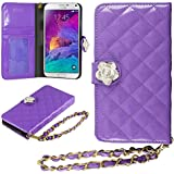 Galaxy Note 4 Case, HHI Samsung Galaxy Note 4 Quilted Purse Wallet Case PURPLE with Crystal Flower Bling and Hand Strap