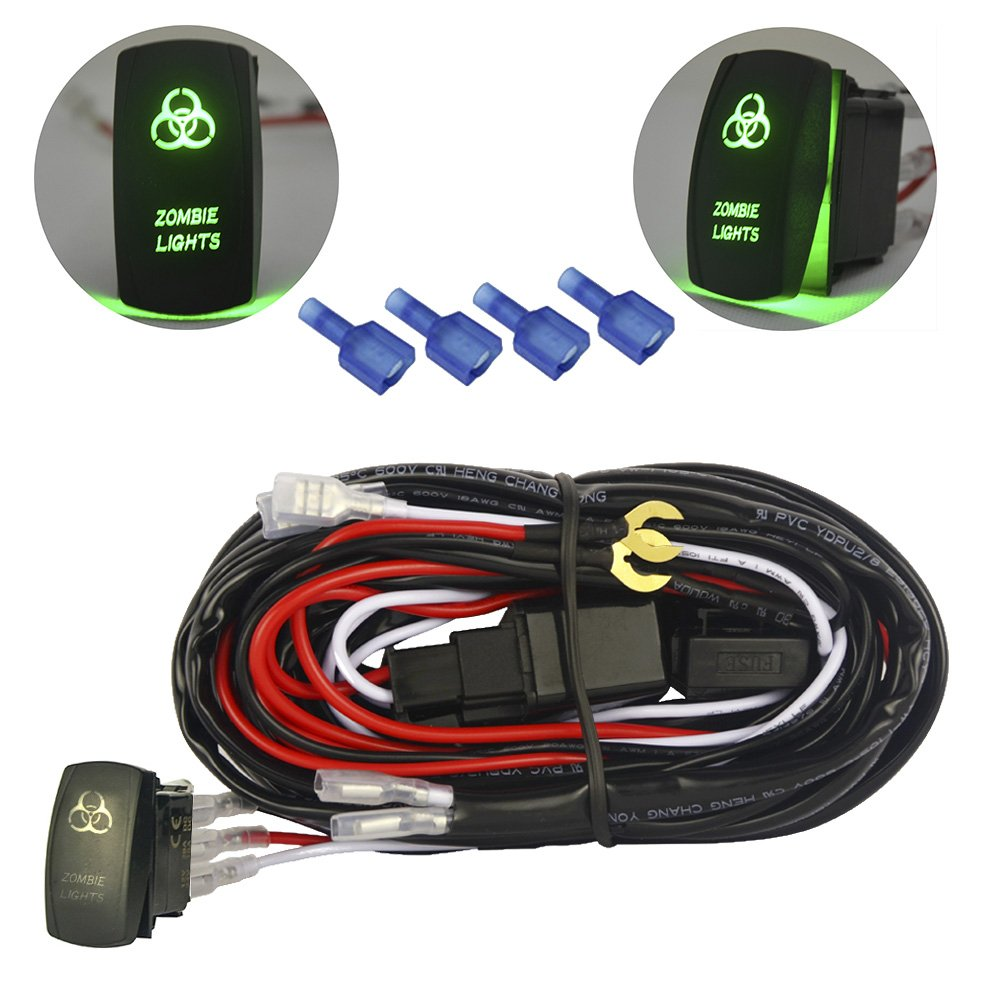 Amazon.com: mictuning LED Light Bar Wiring Harness 40Amp Relay ON-OFF Laser zombie  light Rocker Switch Green(2 Lead 12ft): Automotive