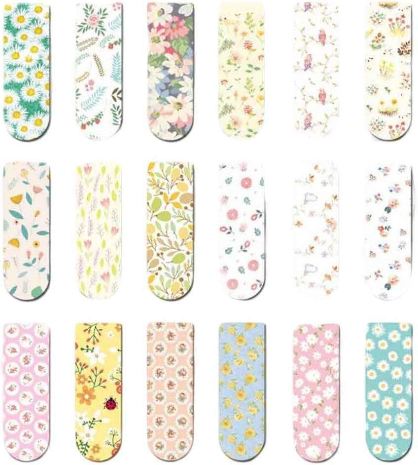18 Piezas Mini Imán Bookmark Clips de Papel Pegatinas Magnéticas Regalos, Flores de Primavera