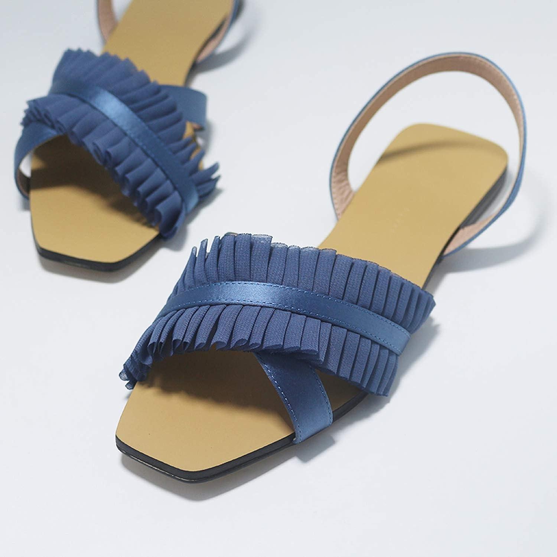 Sky bluee Powit Women's Sandals 2018 Summer New Rome Women's shoes Wind Netting Flip Flop Flats Women shoes