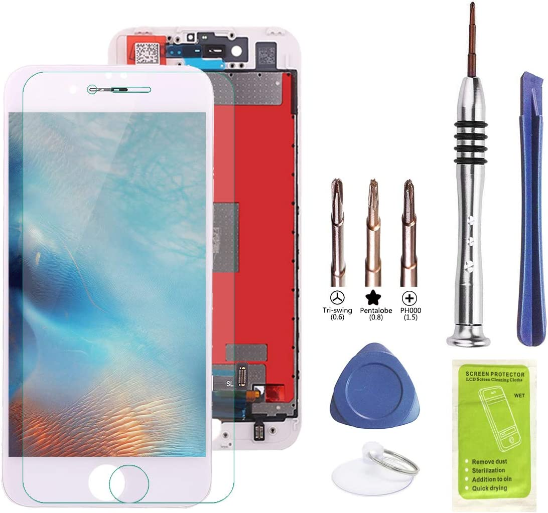 Tanloe Screen Replacement for iPhone 7 LCD Display Touch Screen Digitizer Frame Assembly Full Set with Repair Toolkit and Tempered Glass Screen Protector (7 White)