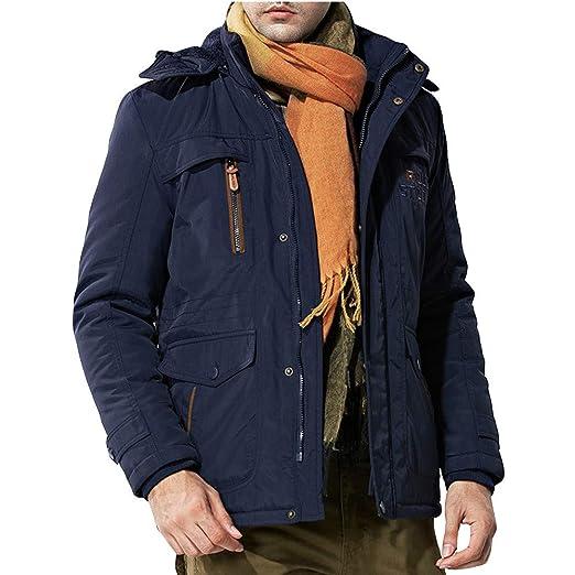 Amlaiworld Chaqueta de Hombre otoño Invierno Abrigos Parka de Lana para Hombres con Capucha Sudaderas Outwear Trench Coat Chico Deportiva de Talla Grande L ...