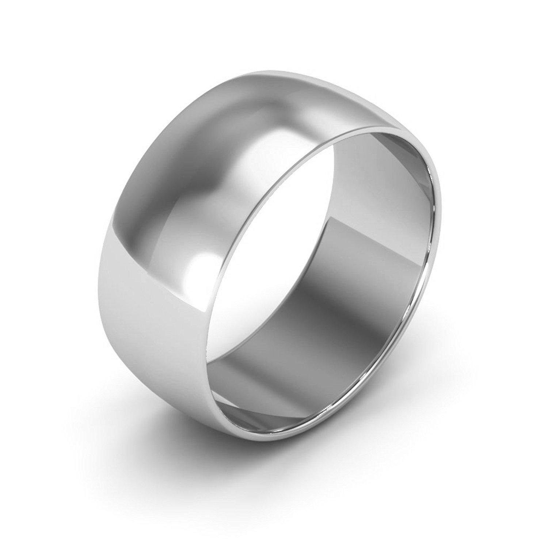 Plain Dome Wedding Band Solid 14k White Gold Ring Heavy Polished Finish, 8 mm Size 9.5
