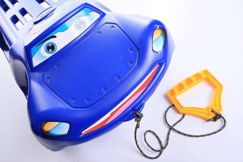 Unbekannt Schlitten Kinderschlitten Rodel aus Kunststoff Zugseil Metallkufen Zigi-Zet 2 Farben Blau
