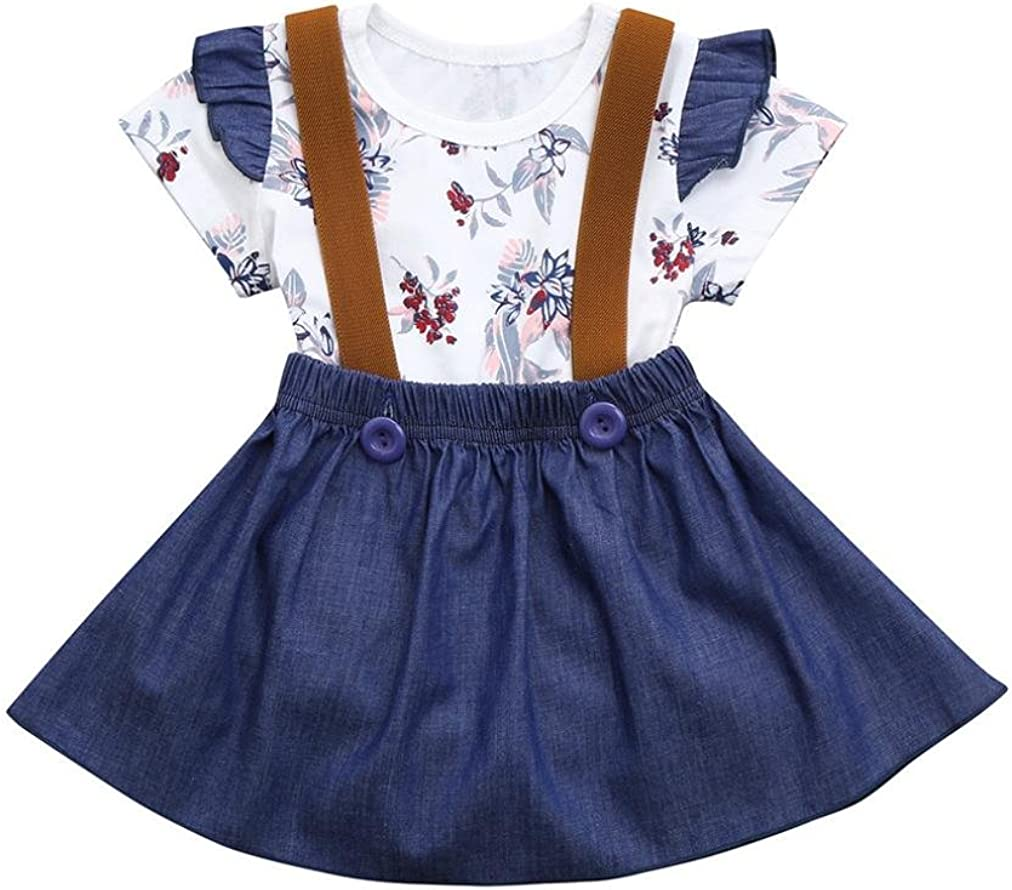 SHOBDW Girls Clothing Sets Strap Summer Skirt Outfits Gifts Infant Baby Kids Lovely Floral Print Short Sleeve Rompers Jumpsuit