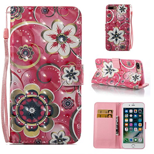 iPhone 7 Plus Case,iPhone 8 Plus Case,Magnetic PU Leather Shock Proof Wallet Case Lightweight Kickstand Flip Folio Case Card Holder with Strap Birthday Xmas Halloween for Apple iPhone 7 Plus-Flowers -