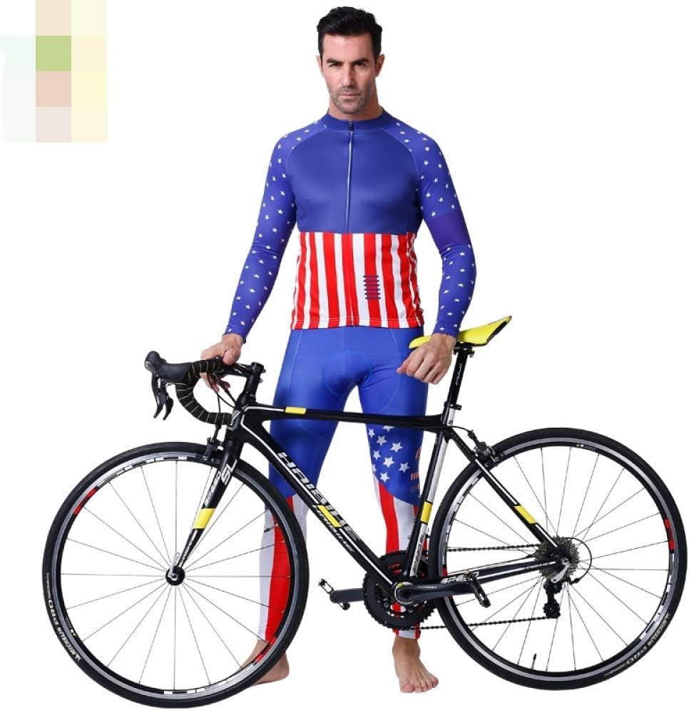 Conjunto Ciclismo Maillot,Conjunto De Trajes De Ciclismo Suave Y Transpirable De Manga Larga + Pantalón Con Pechera Con Almohadilla De Gel Azul Traje Deportivo De Bicicleta Para Hombres Mujeres Tou