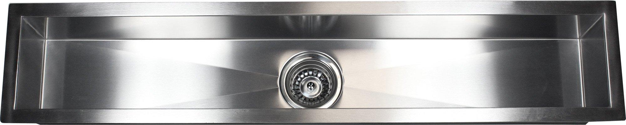 42 INCH Zero Radius Design Undermount Single Linear Bowl Stainless Steel Kitchen Bar Prep Island Sink (42 INCH) KKR-F4208