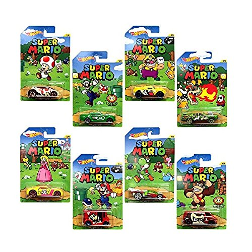 Hot Wheels, Super Mario, Bundle of 8 Die-Cast Cars, 1:64 ()