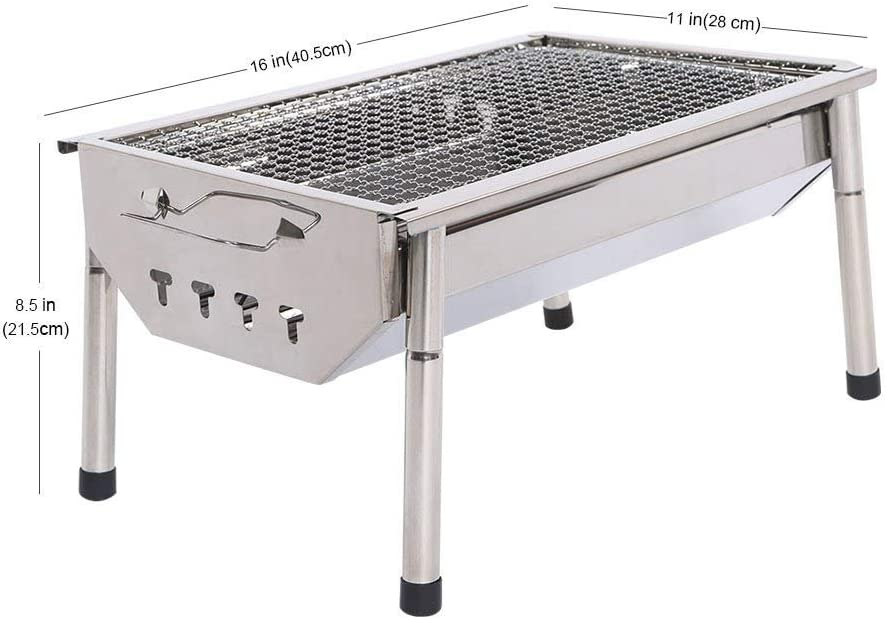 1.6, 13.77x10.62x7.87 Youngshop Barbecue Grill Portable Folding Charcoal Barbecue Desk Tabletop Outdoor Stainless Steel Smoker BBQ for Picnic Garden Terrace Camping Travel