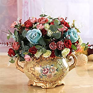SituMi Artificial Flower RoseCamellia Home Decor Small Vase TedSilk Flower The Golden Flower Vases Table Ornaments,The Red 104