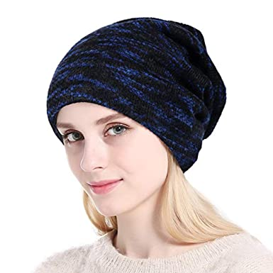 70e6101ef57 Acexy Womens Knitted Beanie Thicken Fleece Lining Hat Winter Skull Cap for Lady  Ladies Knit Slouch