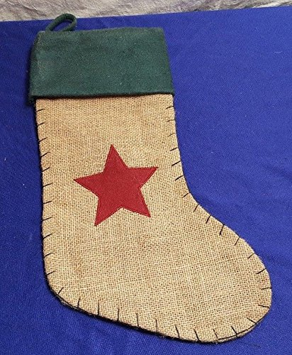 Burlap CHRISTMAS Stocking w Star