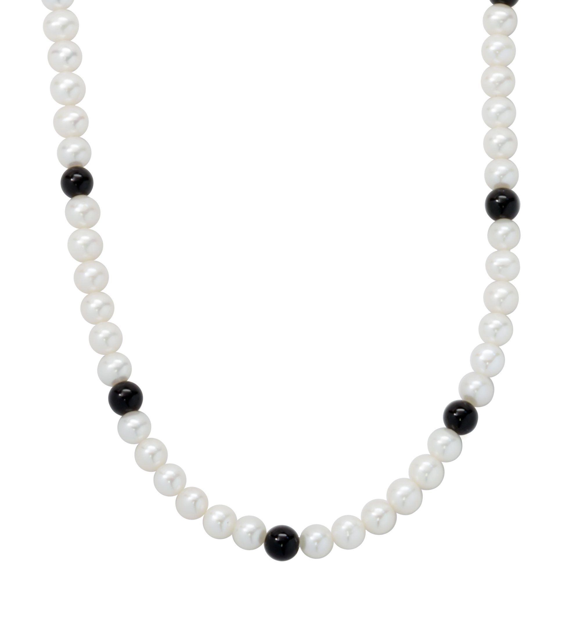 ISAAC WESTMAN White Freshwater Cultured Pearl Necklace with Black Onyx Beads | 18'' Princess Length | Sterling Silver Clasp