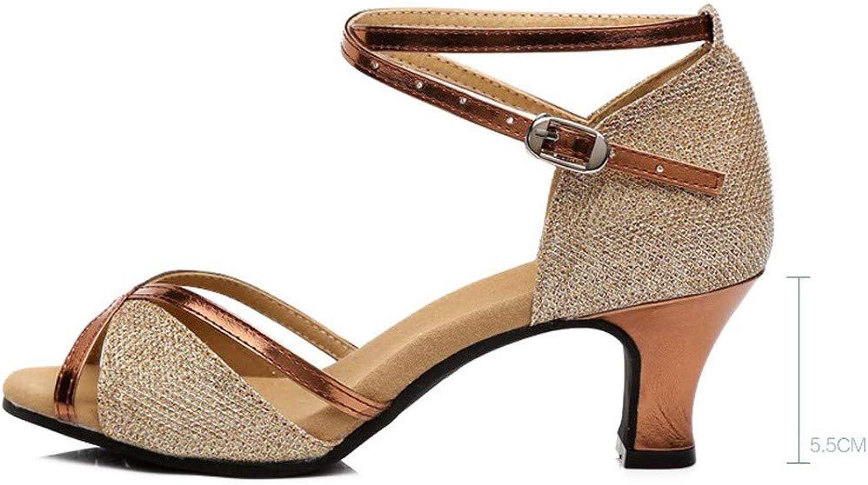 HCFKJ Ladies Women Summer Dance Shoes,Rumba Waltz Prom Ballroom Latin Salsa Dance Shoes Square Comfy Size 2-8