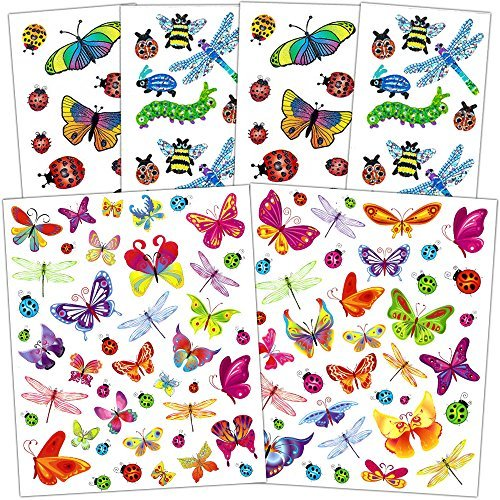 Bug Stickers Party Favors Pack Kids Toddlers -- Over 200 Bugs Stickers (Caterpillars, Ladybugs, Dragonflies)