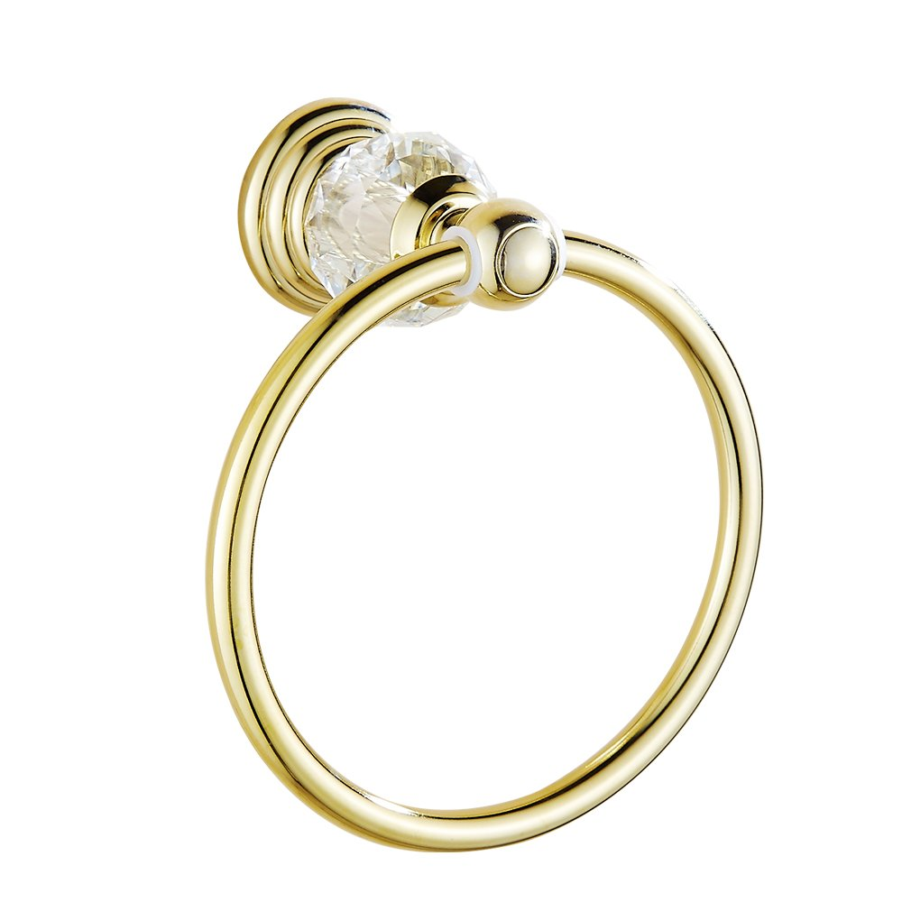 AUSWIND European Antique Luxury Gold Polished Stainless Steel Crystal Towel Ring Wall Mounted Bathroom Accessory XH
