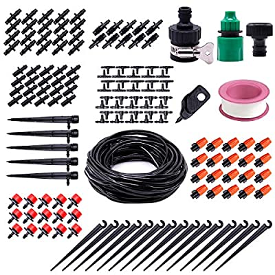 """Drip Irrigation System Kit, 82ft 1/4"""" Blank Distribution Tubing Hose DIY Saving Water Automatic Plant Watering Set with Adjustable Atomizing Nozzle Dripper Sprinkler for Garden, Greenhouse, Lawn"""